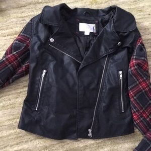 Leather jacket with flannel sleeves